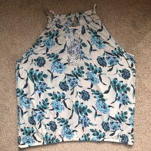 LOFT tan and blue floral tank top